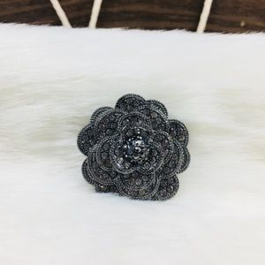 Women's Black Flower Rhinestone Brooch
